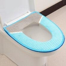 Чехол на сиденье унитаза для ванной, Вельветовая полоска с клейкой пряжкой для сиденья унитаза, утолщенная зимняя теплая водонепроницаемая...