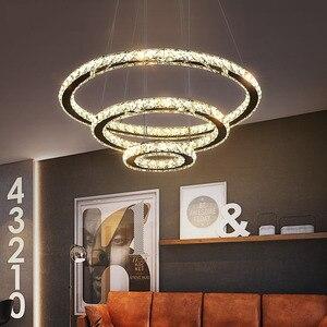 Современный светодиодный Люстра с регулируемой яркостью, хрустальная люстра, освещение для гостиной, столовой, кухни, кольца, светодиодный ...
