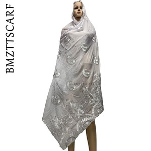 Image 3 - New Arrival African Women Scarf soft cotton embroidery scarfs for shawls ON SALES BM778