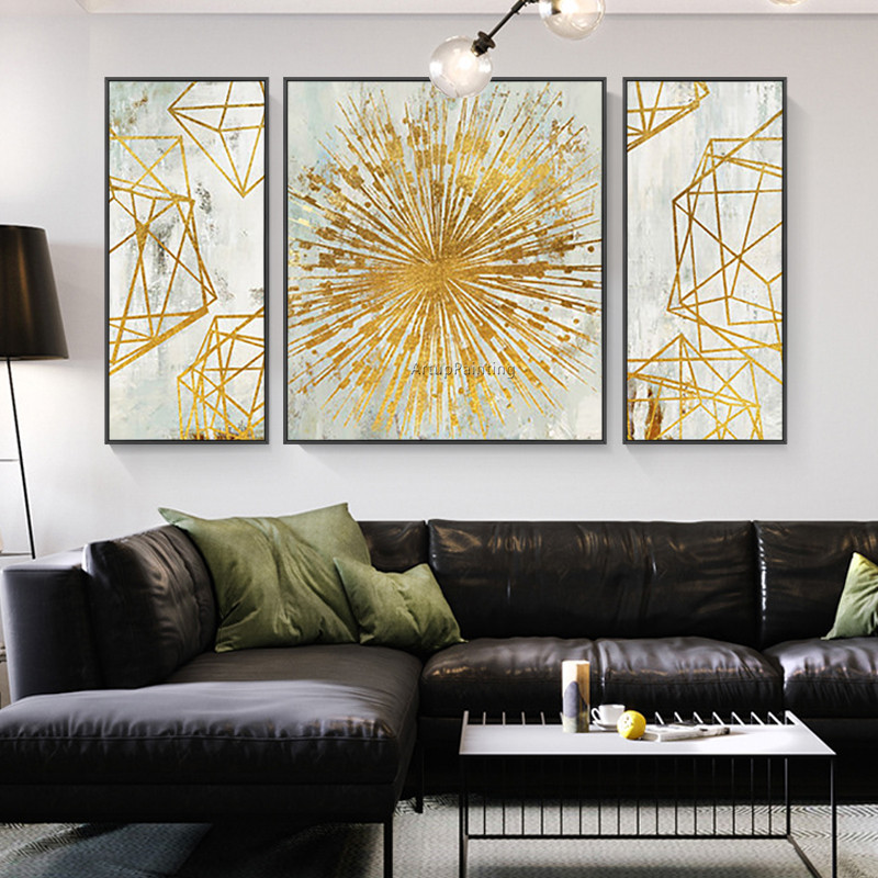 US $145.08 22% OFF|3 pieces abstract acrylic painting geometric large gold  wall art pictures for living room home office decor cuadros abstractos-in  ...