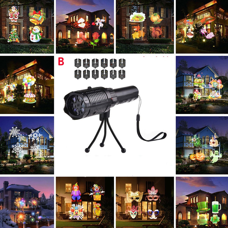 Protection IP64 Mobile Laser Projector Light 12 Mode LED Flashlight Light Christmas New Year Party Light Landscape Garden Light