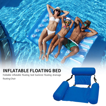 Summer Inflatable Foldable Floating Row Beach Swimming Pool Water Hammock Floating Beach Chair Lounger Mat Seatings 5