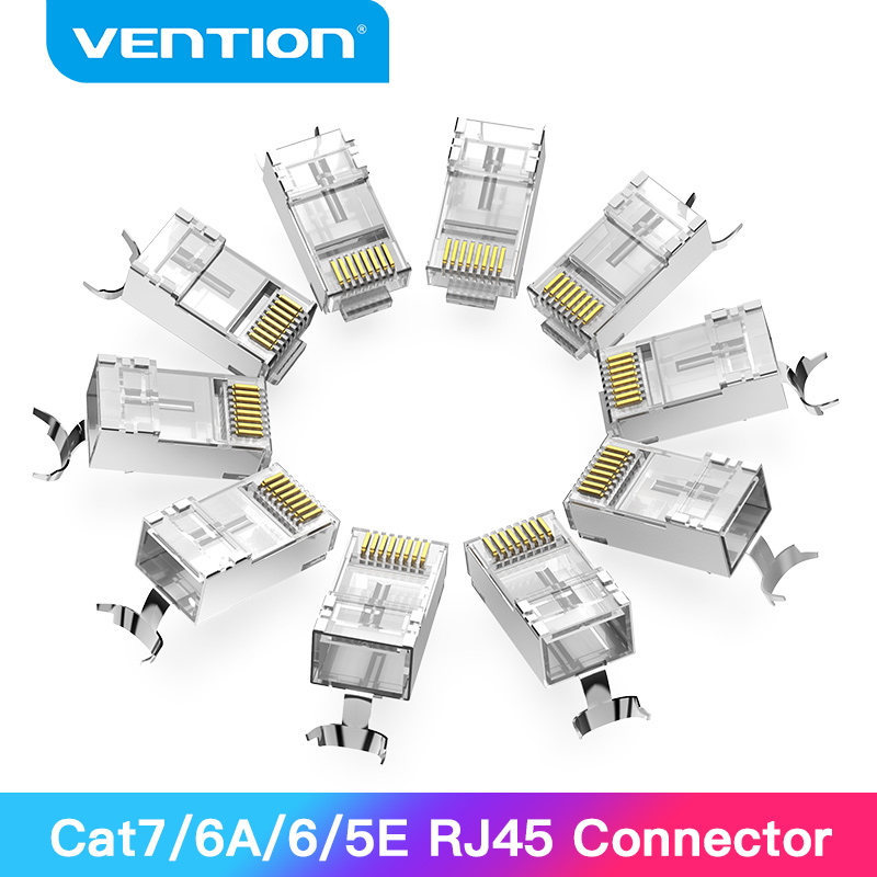 Vention RJ45 разъем Cat7 RJ45 модульный Ethernet Кабельный разъем позолоченный Cat6 ОБЖИМНАЯ сеть RJ45 щипцы разъем Cat7