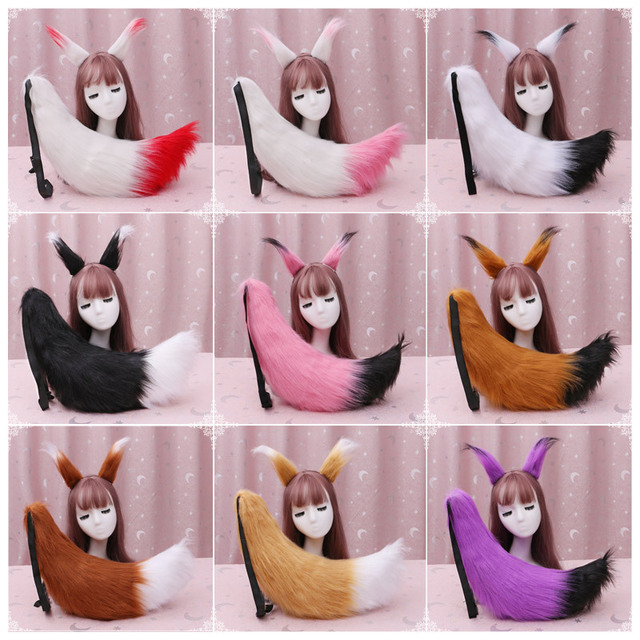 Spice and Wolf Cosplay Fox Tail Headwear Halloween Cosplay Plush Accessories Fox Tail Ear Suit