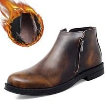Boots Men Chelsea Business-Dress Designer Winter Genuine-Leather Brand Warm Ankle