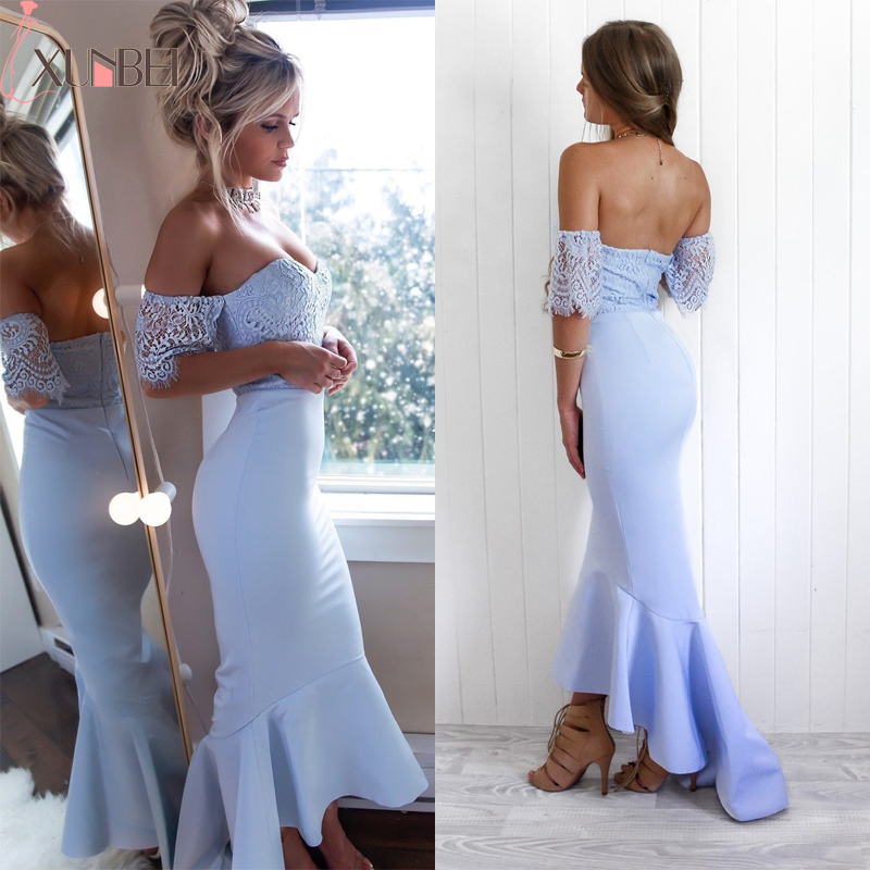 Off Shoulder Mermaid   Bridesmaid     Dress   2019 Lace Ruffles Sexy Elegant Strapless Satin Trumpet Formal Wedding Guest Party   Dress