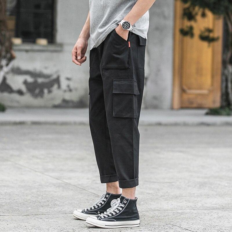 FUGOISM Men's Side Pockets Pants Hip Hop Patchwork Cargo Ripped Sweatpants Joggers Trousers Male Fashion Full Length Pants