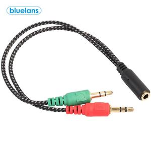 3,5 мм 2 RCA штекер до 1 Женский Джек аудио микрофона наушников разветвитель Стерео плетеный кабель с адаптером для компьютера Тетрадь аудио