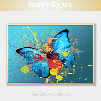 Fashion Design Hand-painted Modern Butterfly Acrylic Painting on Canvas Rich Colors Abstract Insect Butterfly Acrylic Painting фото