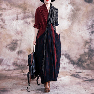Image 2 - Johnature 빈티지 2019 가을 여성 의류 새로운 v 목 긴 소매 플러스 사이즈 드레스 기하학 포켓 긴 여성 격자 무늬 드레스