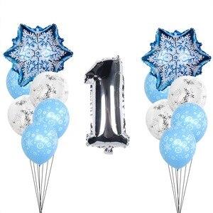 Image 2 - Christmas Snowflake Latex Balloons Baby Shower Decor Number Balloon Girl Kids Birthday Party Air Globos Xmas Snow Party Supplies