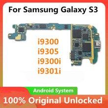 Placa principal original para samsung galaxy s3 i9300 i9305 i9300i i9301idesbloqueado placa mãe com chips imei android os placa lógica