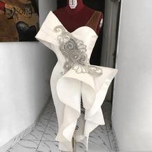 Реальное изображение, прямое платье-миди для выпускного вечера, платья с белыми рюшами и кристаллами, вечернее платье на одно плечо, специальный дизайн, Abendkleider