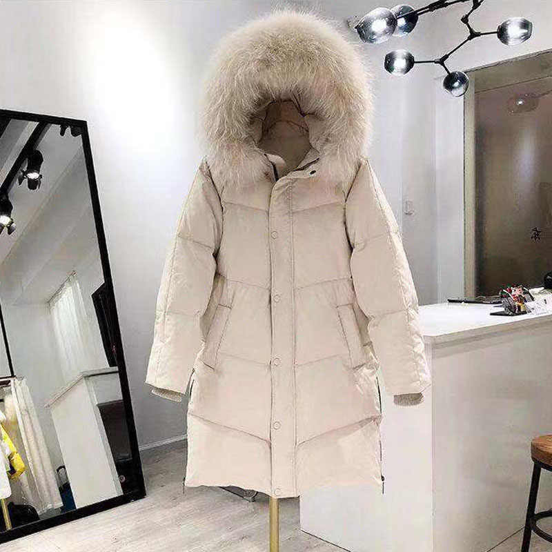 Gran cuello de piel de zorro Real 2020 mujeres chaqueta de invierno blanco con capucha abajo chaqueta femenina cálida larga suelta Chaqueta de algodón Mujer Parka abrigo R