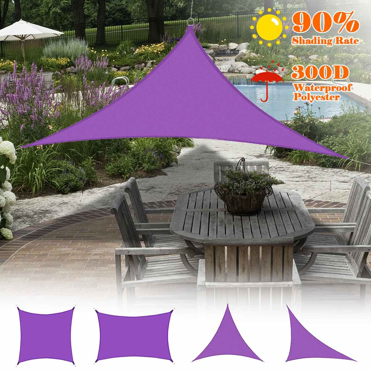 all size purple 300d sun shade sail home outdoor garden waterproof canopy patio plant cover uv block awning decoration sunshade