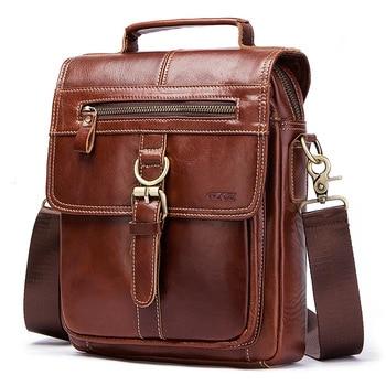 2020 new genuine leather Men's Single Shoulder fashion Man Oblique Satchel Male Handbag messenger vintage bag fashion designer