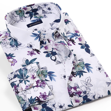 Men's Youthful Vitality Floral Printed Cotton Shirts Pocket-less Design Long Sleeve Standard-fit Holiday Casual Hawaiian Shirt