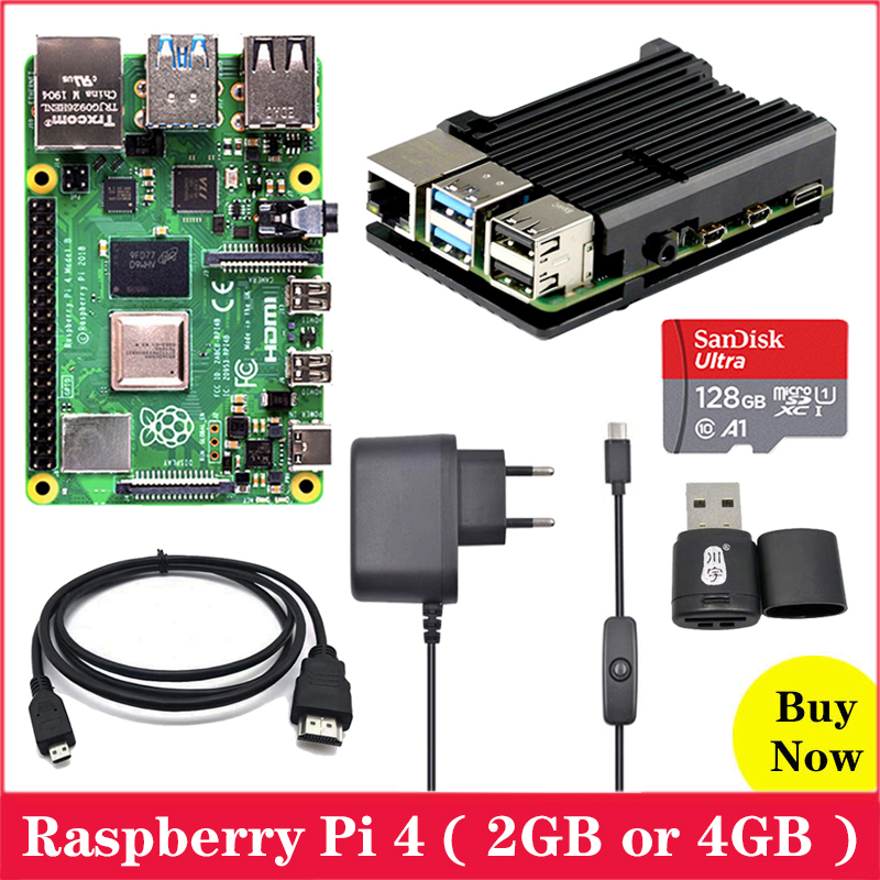 Raspberry Pi 4 Model B With Aluminum Case USBC Power Supply Adapter SD Card Micro HDMI To HDMI Cable For Raspberry Pi 4 Pi 4B