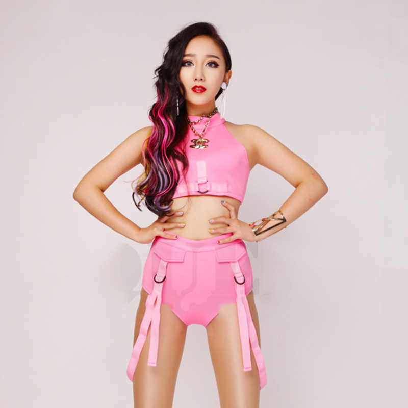 Nachtclub Dj Zanger Ds Beyonce Roze Stretch Stof Hoge Vork Bodysuit Kostuum Verjaardag Outfits Voor Vrouwen Rave Kleding DT1158