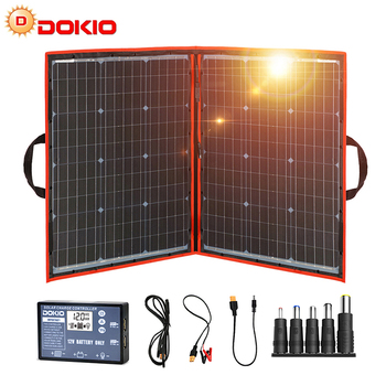 Panel solar plegable de 100 W Dokio  (55Wx2 uds), 18V, color negro, China, controlador de 12 voltios, paneles solares de 100 vatios 2