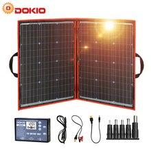 Dokio 100 W (55W X 2Pcs) 18Vสีดำแผงเซลล์แสงอาทิตย์จีนพับ12โวลต์Controller 100วัตต์แผงพลังงานแสงอาทิตย์