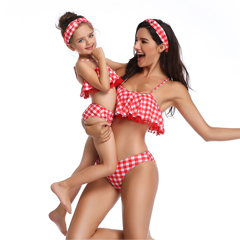 2020 New Mother And Daughter Swimsuit Bikini Summer Mommy And Me Swimwear Family Matching Clothes Mom Daughter Bathing Suit