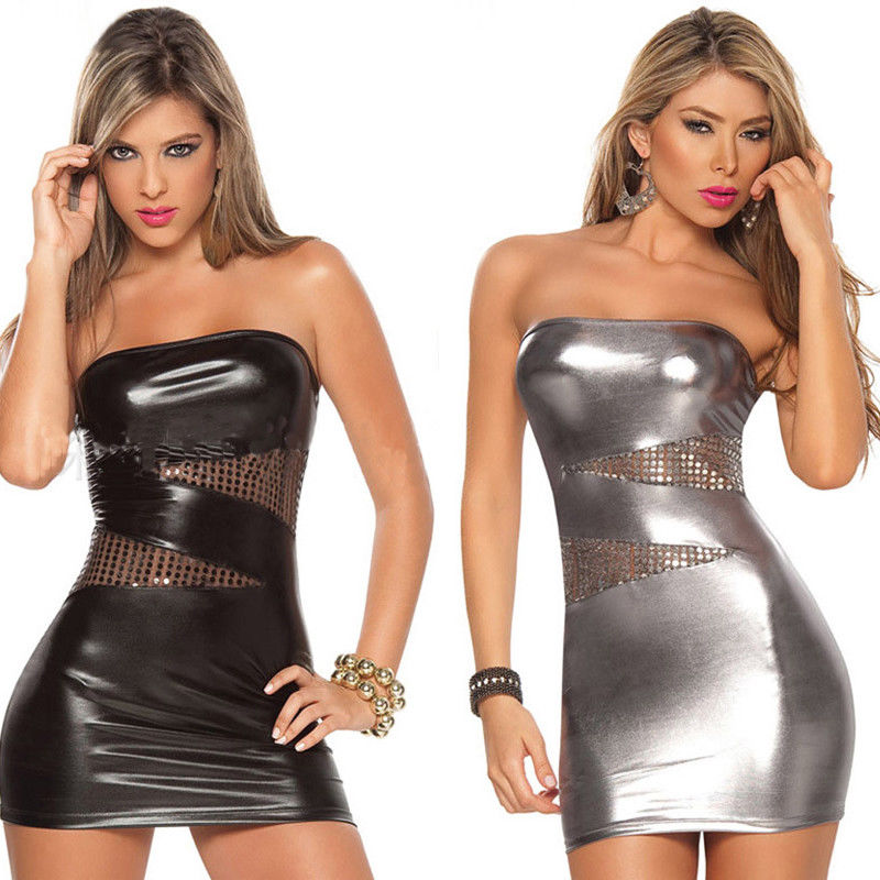 New Fashion Hot Women <font><b>Sexy</b></font> Off-shoulder Leather Sequins Fun Bodycon Short Nightclub <font><b>Dress</b></font> <font><b>Club</b></font> <font><b>Wear</b></font> image