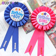 OUDIROSE Pink Blue Girl Boy Birthday Badge Baby Shower Favors Party Decor Supplies Non-woven Fabric Brooch Clothes Accessories