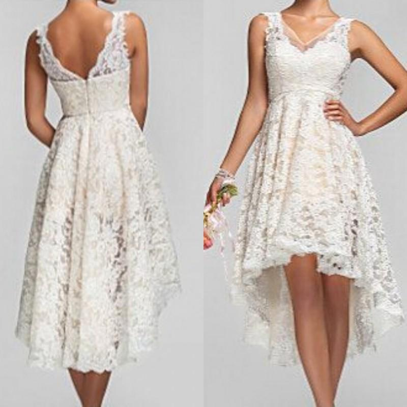 2018 Plus Size High Low Vintage Lace V Neck Back Garden Bridal Gown Custom Made Short Beach Vestido De Noiva Bridesmaid Dresses