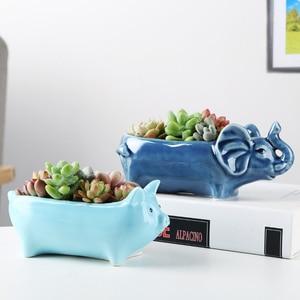 Image 4 - Maceta de Alpaca de flores suculentas para decoración de escritorio, contenedor en maceta, regalo, planta de balcón, cerámica creativa