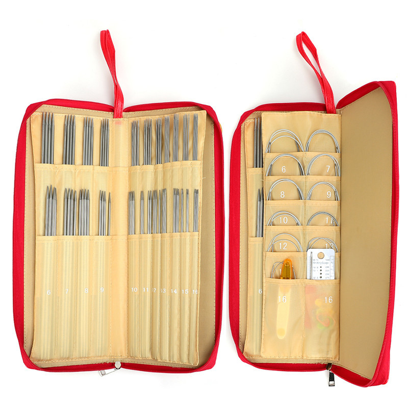 88pcs 25cm 36pcs Straight Knitting Needles 11pcs Circular Needles Knitting Needles Crochet Hook Weave Set With Bag Sewing Kit