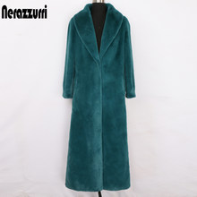 Nerazzurri Winter maxi faux fur coat women long sleeve shawl collar X-long fluffy furry overcoat Plus size fashion 2020 6xl 7xl