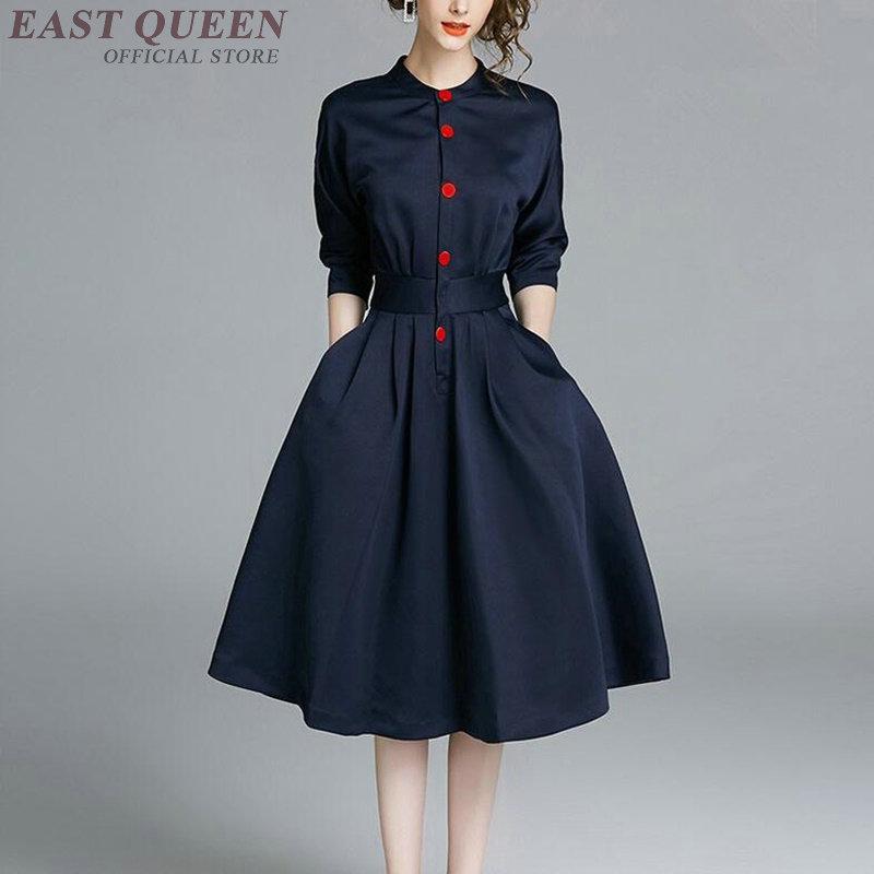 Femmes robe automne 2019 bleu demi manches bouffantes mince Ol robe Midi longue élégante robes de bureau dames 2019 Vestido DD2291