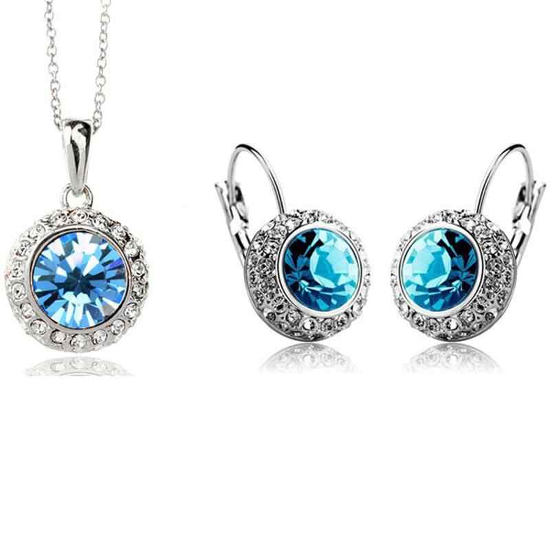 Top Quality Brand Crystal Wedding Jewelry Sets Pendant Necklace Hoop Earrings Kate Middleton Style Silver Plated Jewellery Sets