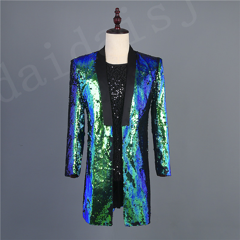 FERNER 2019 Brand New <font><b>Men</b></font> <font><b>Green</b></font> Colorful <font><b>Sequins</b></font> Blazer Design DJ Male Singer Suit <font><b>Jacket</b></font> Fashion Outfit Fast Delivery image