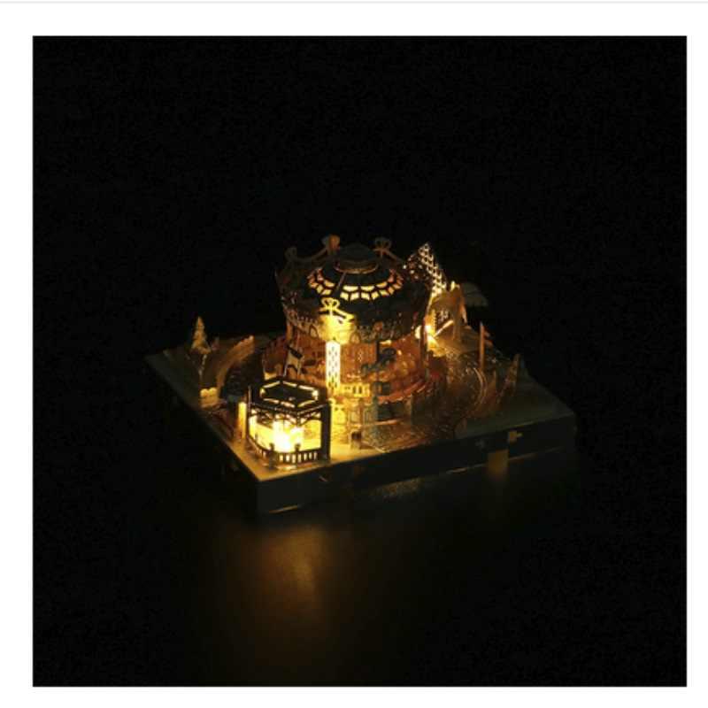 3D DIY Logam Puzzle Model Pmusement Park dengan Lampu Cutting Jigsaw Hadiah Terbaik untuk Kekasih Teman Anak Koleksi Pendidikan