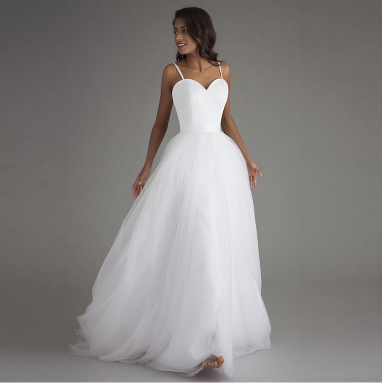 Spaghetti Strap Beach Wedding Dresses 2019 Vestido Noiva Praia White Tulle With Sashes Boho Bridal Gown A-line Bride Dress