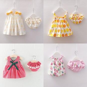 新新生児女の子服ノースリーブドレス + ブリーフ 2 個服セット花柄プリント服夏サンスーツ 0-24m