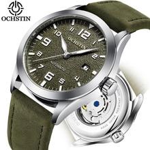 ด้านบนยี่ห้อ OCHSTIN Tourbillon อัตโนมัตินาฬิกาผู้ชายกันน้ำกีฬาผู้ชายนาฬิกาข้อมือหนังชายนาฬิกาแฟชั่น