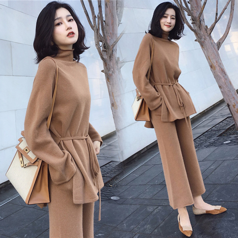 Autumn And Winter Women's Net Red With Street Beat Temperament Chic Port Taste Small Fragrance Wind Wide Leg Pants Knitting