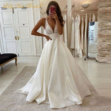Sexy Plunging Deep V Neck Wedding Dress Lace Appliques Sleeveless Satin Bridal Gowns Custom Made plunging neck lace splicing dress