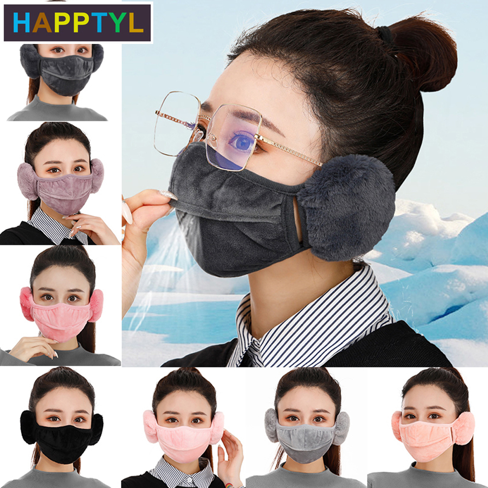 HAPPTYL 1Pcs Men Women Winter Face Mask Windproof Fleece Half Face Face Mask With Earflap & Nose Open For Outdoor Sports