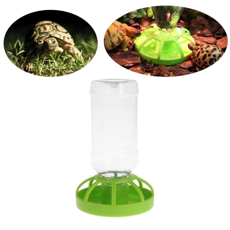 Reptile Water Drinker Dispenser Food Bowl Lizard Feeder Round Dish Drink Bottle