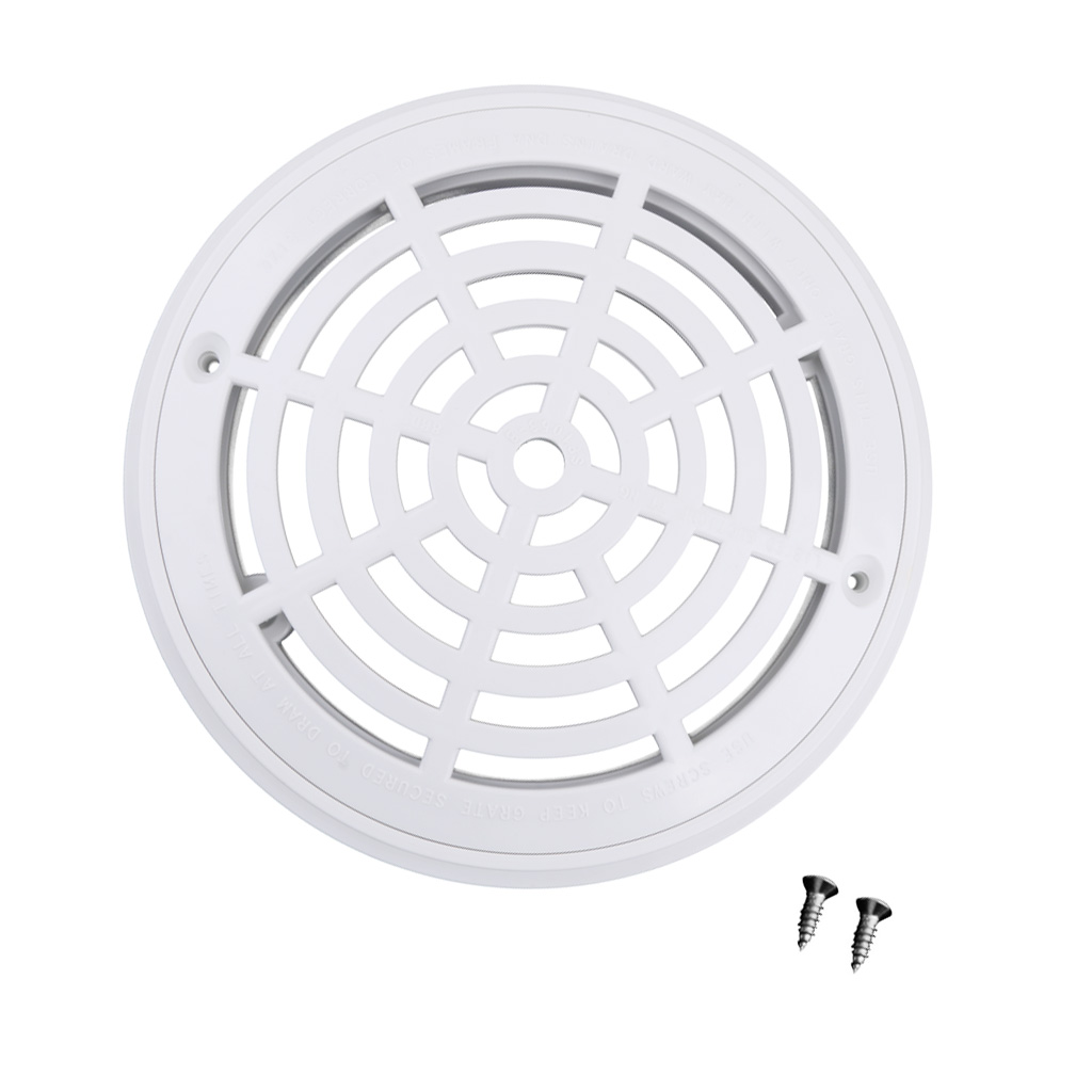 White Main Drain Suction Cover Plate For In-Ground Swimming Pools