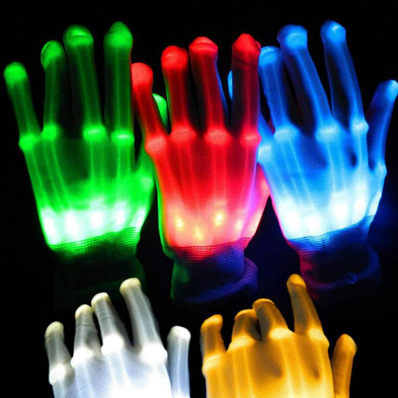 1pcs Halloween Led Glowing Gloves Novelty Bone Glowing Gloves Rainbow Christmas Carnival Glowing Gloves Neon Party Supplies