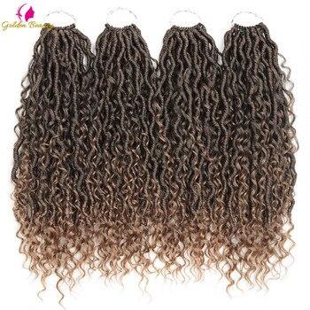 """14 """"bogini Locs szydełkowe włosy rozszerzenia syntetyczne Twist warkocze włosy zamki szydełkowe warkocze dla kobiet 24 nici złote piękno"""