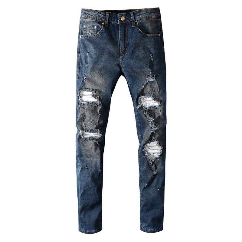 Sokotoo Men's Retro Vintage Blue Ripped Jeans Slim Skinny White Patch Spliced Stretch Denim Pants