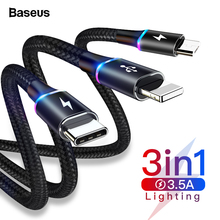 Baseus 3 in 1 USB Cable for iPhone LED 3in1 Multi Micro USB Type C Cabl