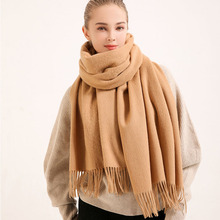 Winter 100% Wool Scarf Women Oversize 2019 Brand Outdoor Warm Wraps for Ladies Solid Pashmina Echarpe Tassel Pure Scarves