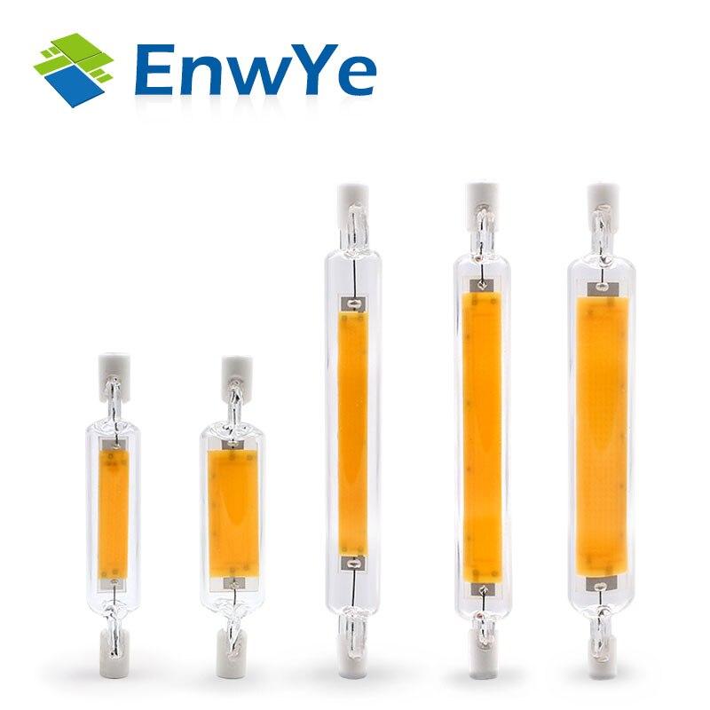 EnwYe COB R7S Светодиодный лампа стеклянная трубка сменная галогеновой лампы прожектор 3 Вт 5 Вт 8 Вт 10 Вт R7S 78 R7S 118 переменного тока 220V 240V